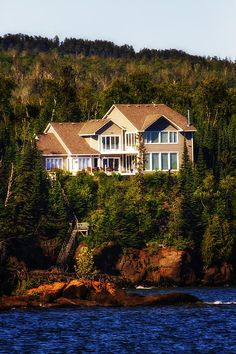 This is a Lake Superior beach front home located in Grand Marais, Minnesota. I love the privacy this home has and it's just beautiful.