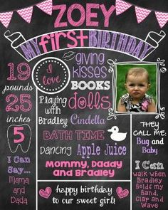 First Birthday Chalkboard First Birthday Poster With Picture With Photo by ChalkingItUpBoards