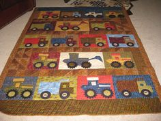 Grandson's quilt, tractors and trucks