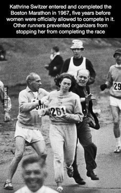 One of the first woman who ran a marathon