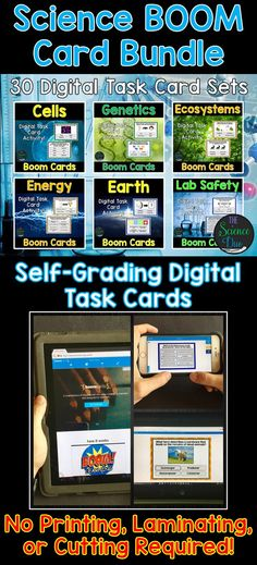 This interactive bundle of digital task cards includes 30 unique sets covering a variety of life science, earth science, space science, and physical science concepts.  These digital resources are hosted on Boom Learning™️. Boom Cards™️ require absolutely no printing, laminating, cutting, or grading. It's all done for you!