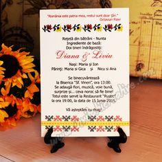 Invitatie cu Motiv Traditional-Floral Colorat