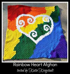 Rainbow Heart Afghan C2C Crochet Graph and Written by CrochetCouch