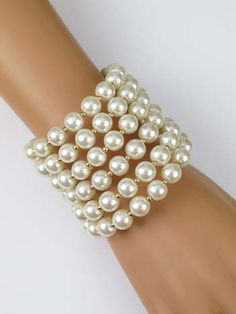 Faux Pearl Wrap Bracelet - Vintage Inspired Bridal Jewelry