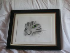 Charcoal color drawing handmade cat framed art by TCsgirlscrafting, $40.00