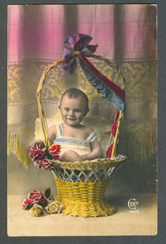 Postcard Hand Tinted Child IN A Basket 1929