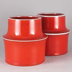 Stig Lindberg (Ting 1969) Two Striking Scarlet Red Vase