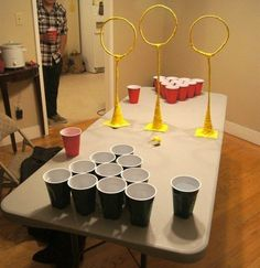 Spruce up your beer pong game with the ultimate round of Quidditch pong. | 29 Essentials For Throwing The Perfect Harry Potter Party