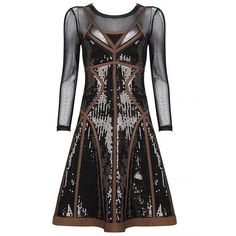 Brown Sequins Mesh Long Sleeve Bandage Dress H708 $159 (310 TND) ❤ liked on Polyvore featuring dresses, brown long sleeve dress, sequin dress, long sleeve dresses, long sleeve sequin dress and longsleeve dress