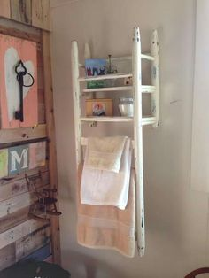 Upcycled chair into a shelf