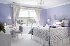 Calm Light Purple Themed Home Bedroom for Teen Girl Integrating Classic White Youth Bedroom Furniture Ideas