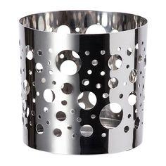 IKEA - VACKERT, Koriste lasikuppikynttilälle, Kiiltävä metalli yhdessä rei'istä hohtavan kynttilänvalon kanssa luo tunnelmaa kotiin.Soveltuu myös lämpökynttilälle.