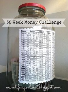 52 week money challenge ~ so doing this, will be a contribution to our honeymoon