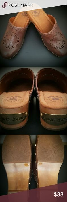 Lucky Brand Peace Clogs Brand New. Never worn. Very cute with Vintage jeans or shorts. Lucky Brand Shoes Mules & Clogs