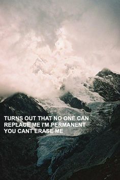 It turns out that no one can replace me. I'm permanent you can't erase me.