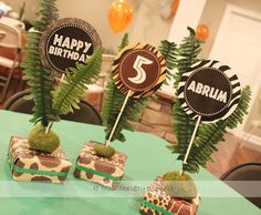 The extraordinary Printable Safari Collection – Wild Animal Party Decor In Animal Party Decoration Ideas images below, is part … Safari Party Centerpieces, Safari Decorations, Birthday Centerpieces, Centerpiece Ideas, Jungle Theme Parties, Safari Birthday Party, Jungle Party, Safari Theme, Party Animals