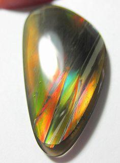 Fire obsidian designer Cab  Brilliant flashing by lapicarey, $200.00