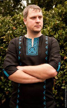 b02095217f4 Купить Сорочка Молвинец (чёрно-голубая) - черный