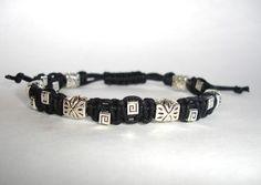 Men's Macrame Bracelet  Black Cotton Cord  by LOVEwhatIdoDesigns