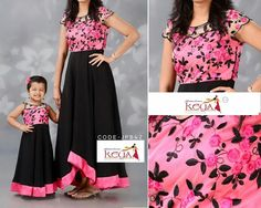 Mom and baby dresses Mom Daughter Matching Dresses, Mom And Baby Dresses, Dresses Kids Girl, Mother Daughter Fashion, Mother Daughters, Kids Blouse Designs, Kids Ethnic Wear, Long Gown Dress, Kids Lehenga