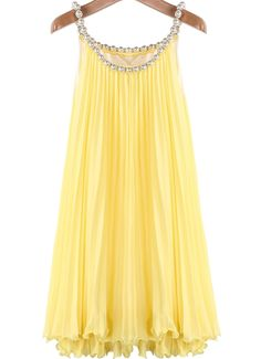 Yellow Bead Pleated Chiffon A Line Dress