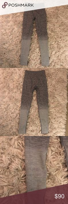 Lulu lemon ombré leggings NWOT lulu lemon leggings! Size 4. High waisted and full length. Color is ombré dark gray and fades to light gray. Fabric is soft and stretchy. These are sadly a reposh - I don't want to give them up they just don't fit me! 😩 so cute and in perfect condition. No pilling or flaws as shown. Price is firm. lululemon athletica Pants Leggings