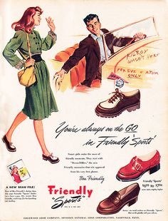 practical shoes. (love the colors too.) #autumn #vintage #1940s
