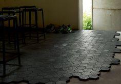 Dechirer Hexagon tiles by Patricia Urquiola.