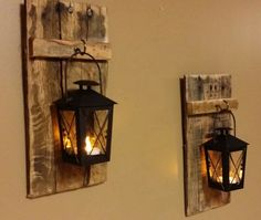 "Rustic wood candle holder with lantern 12"" x 5"" , wood sconce,  Mini candle…"