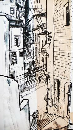 Perspective Drawing Lessons, Abstract Drawings, Urban Sketching, Environmental Art, Gravure, Cool Artwork, Drawing Sketches, Art Inspo, Watercolor Paintings