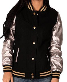 New Trending Outerwear: Sportier Junior Wool Blend Varsity Jacket With Faux Leather Sleeves, Black/Silver, Size Large. Special Offer: $24.99 amazon.com Your fashion sense gets an A  with this Junior Wool Blend Varsity Style Jacket from Sportier. Features bright gold-tone snap and trim detail. Welt hand pockets with contrast trim and welt chest pocket. Quilt lined interior.Fully LinedRib Knit Waist and Sleeve...