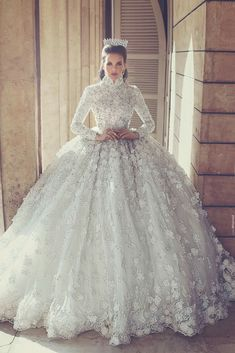 2018 Luxury Lace Ball Gown Wedding Dresses With Long Sleeve Floral Appliques High Neck Arabic Bridal Gowns Crystal Beaded Wedding Dress Top Wedding Dresses, Princess Wedding Dresses, Bridal Dresses, Wedding Gowns, Wedding Shoot, Lace Wedding, Bridal Shoot, Wedding Ceremony, Prom Dresses