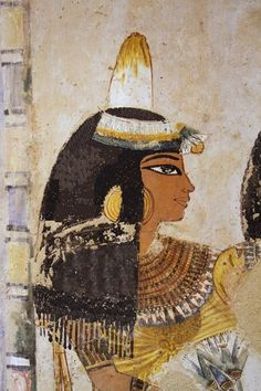 "Ancient Egyptian painting from the Tomb of Menna, located in the Sheikh Abd el-Qurna district of the Maadi, opposite Luxor in Egypt. Menna was ""Scribe of the Fields of the Lord of the Two Lands"" probably during the reign of Thutmose IV, Dyn 18 Ancient Egyptian Paintings, Ancient Egypt Art, Egyptian Art, Ancient History, Art History, Egyptian Women, Amenhotep Iii, African History, Ancient Civilizations"