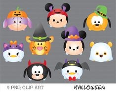 halloween tsum tsum clipart, tsum tsum graphics, halloween clipart, cute halloween, party, instant download