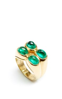 1985 Bulgari Emerald And Gold Ring by FD Gallery for Preorder on Moda Operandi