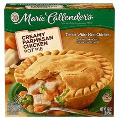 Marie Callender's Creamy Parmesan Chicken Pot Pie has delicious home-cooked flavors. Savor the goodness of white-meat chicken and Parmesan cream sauce