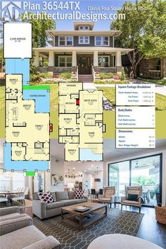 Architectural Designs House Plan 36544TX is a classic Four Square design. It gives you 4 beds, 4.5 baths and over 3,200 square feet of heated living space. Ready when you are. Where do YOU want to build?