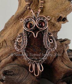 Wire Wrapped Owl Pendant Necklace with Dino Bone by MaryOlczyk, $65.00