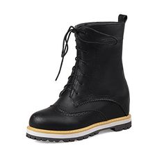 WeenFashion Women's Round Closed Toe Low-top Kitten Heels Solid PU Boots, Black, 36 for sale Lace Up Boots, Black Boots, Women's Over The Knee Boots, Shoe Closet, Short Boots, Lace Tops, Brogues, Combat Boots, Kitten Heels