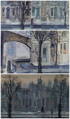 Amazing Backgrounds from 101 Dalmations Walt Disney Studios, 1961 Ken Anderson, art director and production designer