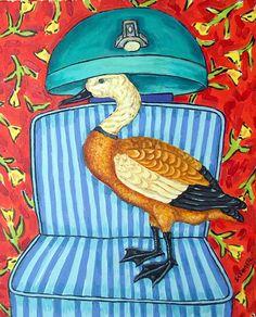 DUCK art PRINT poster painting gift JSCHMETZ modern folk martini 13x19