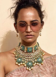 An uncut diamond necklace put together with Russian emeralds and pearls. Bridal Necklace, Bridal Jewelry, Sabyasachi Collection, Indian Wedding Jewelry, Indian Bridal, Uncut Diamond, India Jewelry, Sapphire Necklace, Antique Jewelry
