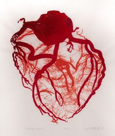 heart, screen print, silk screen, red