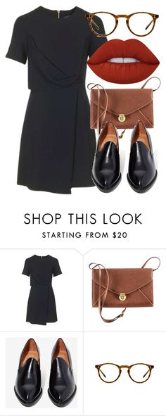 """""""Untitled #5693"""" by laurenmboot ❤ liked on Polyvore featuring Topshop, H&M, Jeffrey Campbell, Oliver Peoples and Lime Crime"""