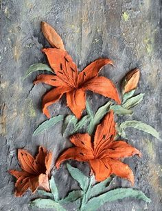 """Картины цветов ручной работы. Ярмарка Мастеров - ручная работа. Купить Картина объемная """"Лилии"""". Handmade. Дача, шебби-шик"""