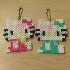 Hello Kitty keychains perler beads by nerdy_beads