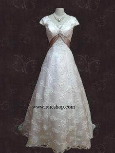 Graceful Empire Cap Short Sleeves A-line Princess Lace Wedding Dress | | Ieie's Bridal Dress Boutique