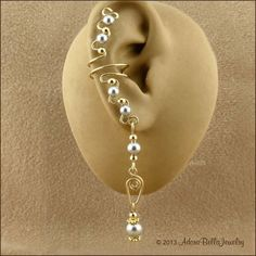 Swarovski Crystal Pearl and 14 KT Gold Filled Pair Ear Cuffs, Your choice of 12 Pearl Colors, Pearl Ear Cuff, Bridal Ear Cuff, Wire Ear Cuff Cuff Jewelry, Cuff Earrings, Beaded Earrings, Earrings Handmade, Jewelery, Handmade Jewelry, Skull Jewelry, Pearl Earrings, Wire Ear Cuffs