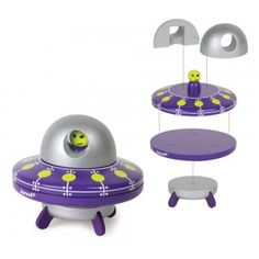 Janod - Magnetic UFO: Space - the final frontier! Send your little astronauts off to find the alien! Pull the 5 magentic wooden pieces of the UFO apart and then rebuild it to fly away. A fantasy puzzle come to life or a funky room decoration to stand on the shelf. Little boys will love him! #alltotstreasures #janod #magneticufo #woodentoys #ufo #space