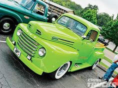 vintage truck painted lime green!!  to make deliveries!